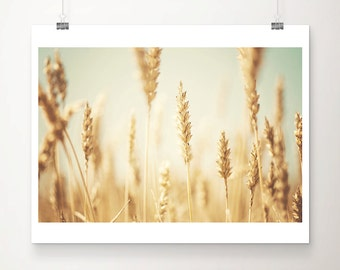 wheat photograph wheat field print gold home decor rustic decor nature photography farm house decor mint wall art midwest photograph