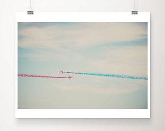 red arrows photograph airplane photograph nursery wall art blue home decor airplane print airplane art boys nursery decor