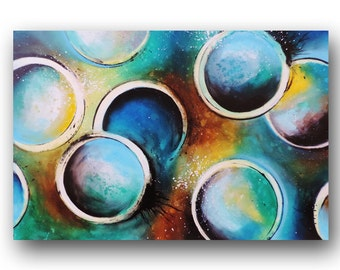 Abstract Painting, Circles Painting, Painting on Canvas, Blue Painting, Large Original Painting, Contemporary Art,  36x24 by Heather Day