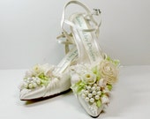 Ivory Rose and Pearl Bridal Shoes, Ribbonwork Garden Shoes, Floral Heels,  Wedding Downton Abbey Bride  Couture Shoes Princess