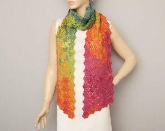 Colorful rainbow colored crochet long scarf