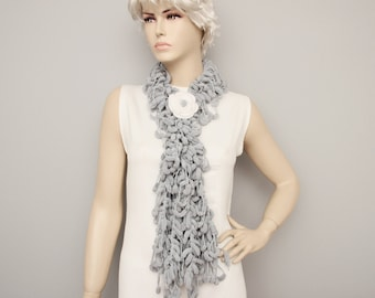 Mulberry scarf  ,Pompom scarf ,cocoon scarf with removable  crochet brooch ,grey