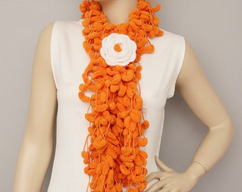 Mulberry scarf  ,Pompom scarf ,cocoon scarf with removable  crochet brooch , ORANGE
