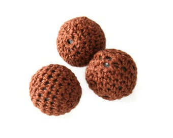 Brown Crochet Beads, Knit Beads, Chunky Beads 21mm - 3pcs  U 80 034