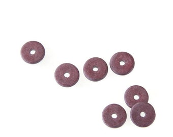 14 pcs Red Glitter Round Ceramic Disc Beads, Burgundy Discs Beads, Burgundy ceramic spacers C 10 220