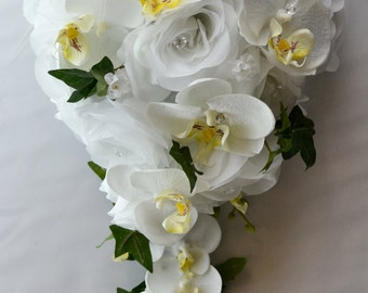 """17 Piece Package Wedding Bridal Bride Maid Of Honor Bridesmaid Cascade Bouquet Boutonniere Silk Flower WHITE ORCHID """"Lily Of Angeles"""" YEWT04"""