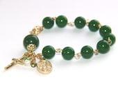 St Michael & Guardian Angel Rosary Bracelet, Nephrite Jade with Gold Catholic Bracelet
