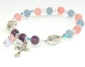 Girls' Rosary Bracelet, Gemstone Beads, St Michael & Guardian Angel Stretch Bracelet