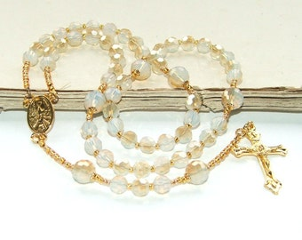 Catholic Rosary for Girls or Women, Champagne Crystal & Gold, Lovely Confirmation Gift