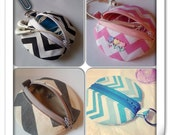 Chevron Zipper Pouch, Earbud Pouch, Pacifier Pouch, Diaper Bag Accessory, Baby Shower Gifts, You Choose the Fabric, Change Pouch