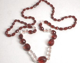Vintage Cherry Amber Art Deco 30in 1930s Faceted Necklace