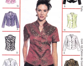 "Button Down Top Blouse Sleeveless Short or Long Sleeve Plus Size 18-20-22 Bust 40-42-44"" McCall's 2037 Womens Sewing Pattern"
