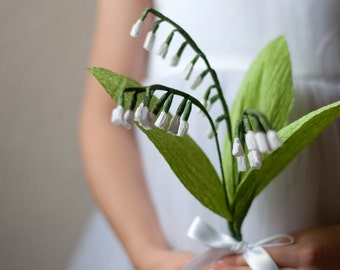 Paper Lily of the Valley 3 Sprig Bouquet-Life Sized