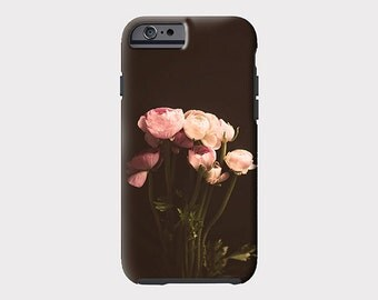 Pretty iPhone 6s case, iPhone 6 case, black and pink iphone case, iPhone 6 plus case, chalkboard pink flowers, iPhone 5s case, floral phone