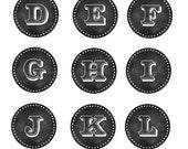 Chalkboard Alpha Circles - 1 inch - Instant Download - Digital File - 713
