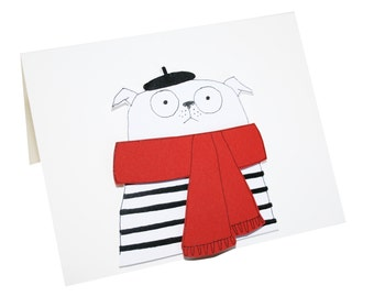 French Pug Card, Funny Pug Card, Blank Card for Pug Lover, Cute Pug Card for Dog Lover, White Pug in Black Beret & Red Scarf, Poosac