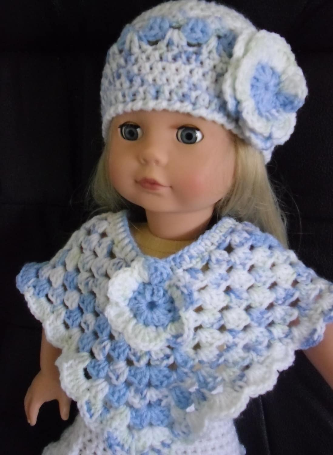 Crochet Hat Pattern American Girl Doll : PDF Crochet pattern for hat and poncho for 18 inch doll