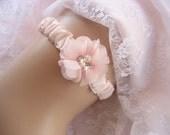 Blush Flower Wedding Garter,  Hand-dyed Garter and Flowers Wedding Garter other colors too