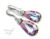 Purple Pink Bridal Earrings Swarovski Crystal Vitrail Light Teardrop Bride Earrings Lilac Lavender Wedding Jewelry Violet Bridesmaid Gift CZ
