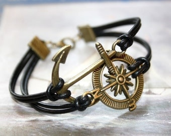 Anchor & Compass Leather Bracelet for Men black bronzecolored - friendship boyfriend husband man brother father jewelry