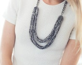 Double Strand Knit Fabric Necklace w/ Chain- SALE