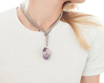 "Amethyst Pendant Necklace, Wrap Around Silver Chain - ""Andrew"""