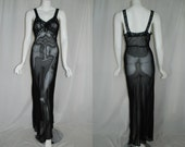 1940s Sheer Black Rayon chiffon Nightgown, Small, bias cut