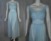 1950s Vanity Fair Blue Nightgown, 38, Medium, Large,  Lace