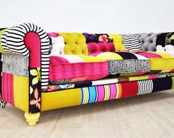 RESERVED for Joetta: Chesterfield patchwork sofa - color palette