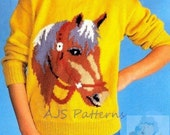 """PDF Knitting Pattern - Horse Horse's Head Motif Sweater in Adult and Childrens Sizes to Fit 26"""" to 44"""" - Instant Download"""