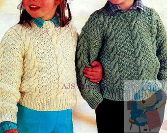 PDF Knitting Pattern for Aran Sweaters - Dropped or Set In Sleeves - To Fit 20 to 28 inch Chests - Instant Download