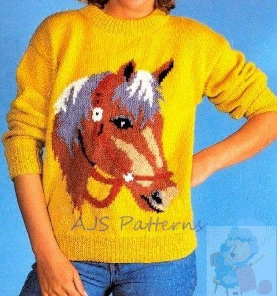 pdf knitting pattern horse horses head motif sweater in