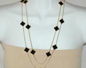 Clover Necklace - Black enamel Necklace, Four Leaf Clover Necklace, Long necklace, Gift for her