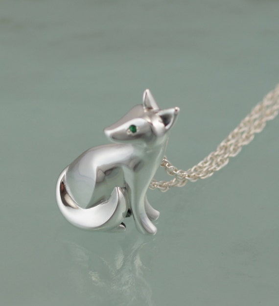 sitting kit fox pendant ,   silver.  pick finish and eye color