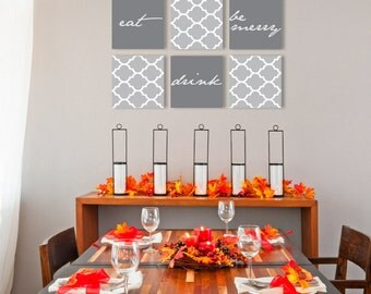 "Eat Drink Be merry on canvas art gallery wraps Set of 6 dining room ideas 1.5"" thick frame wall art print"
