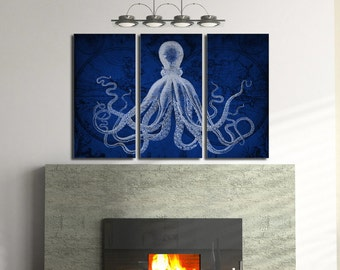 SPECIAL SALE (First 5 customers) Old Map + Octopus Triptych Set in navy blue - Octopus art, Canvas print Stretched canvas wall Art print