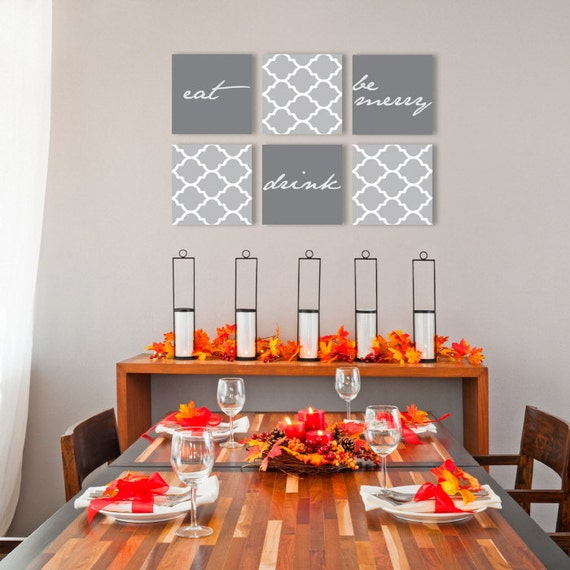eat drink be merry on canvas art gallery wraps set of 6 dini