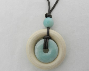 Nursing Necklaces by Life Circles - Blue Amazonite and Natural Wood with Accent Bead