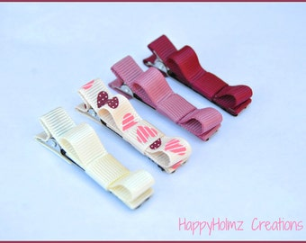 Baby Hair clips, Infant hair clips, Toddler hair clips, Tuxedo hair clips, Ivory Maroon-Mauve Non slip hair clips, Baby hair bows, Baby clip