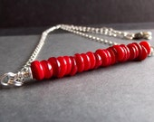 Coral Red Necklace:  Beaded Bar Necklace, Silver Chain Minimalist Necklace, Berry Red Modern Valentine's Day Jewelry