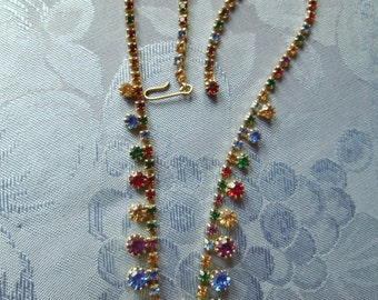 Vintage Rhinestone Necklace Multicolored Red Blue Green Yellow