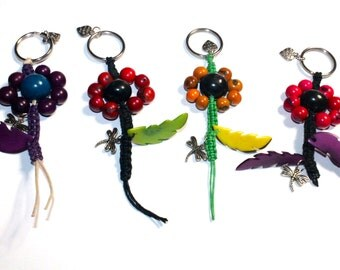 Teacher's Gift Idea/ SALE: Lot of 4 Acai Seed Flower keychains/ Eco friendly Accessories, Keychains