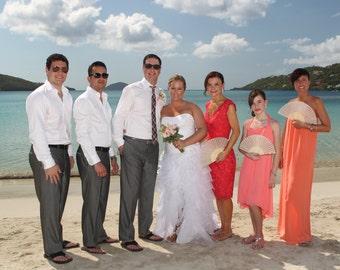 Folding Fan With Sea Shells, Beach Wedding, Bridal Party Fans, 1 Fan