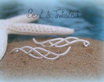 Sterling Silver Cascades - Silver Wave Earrings - Sterling Silver Post Earrings