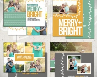Christmas Card Templates: Merry & Bright - Set of Four 5x7 Holiday Card Templates for Photographers