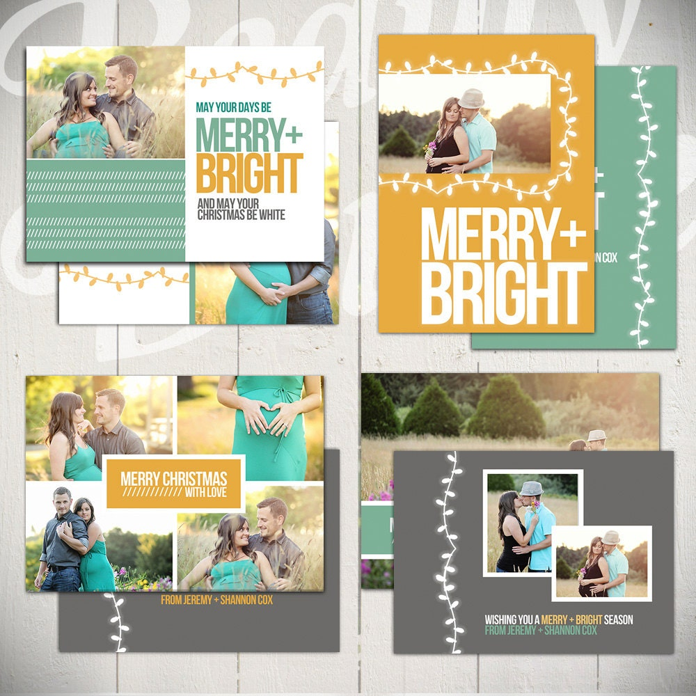Christmas Card Templates: Merry & Bright Set Of Four 5x7