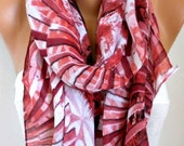 Red & White Cotton Scarf, Fall Scarf, Cowl Scarf Oversize Shawl Gift Ideas For Her Women Fashion Accessories,Teacher Gift