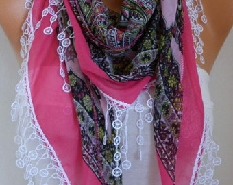 Hot Pink Cotton Scarf,Summer ,Oversized Scarf, Necklace, Cowl Scarf, Multicolor Gift Ideas for Her, Women Fashion Accessories,christmas