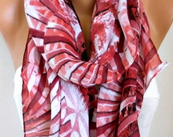 Red & White Cotton Scarf,Spring Summer Scarf, Cowl Scarf Oversize Shawl Gift Ideas For Her Women Fashion Accessories,Mother's Day Gift