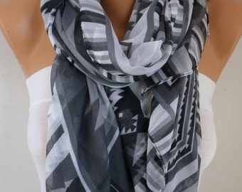 Gray Southwestern Scarf Bohemian Scarf Aztec Scarf Tribal Scarf Shawl Multicolor Cotton Scarf Gift Ideas For Her  Women Fashion Accessories